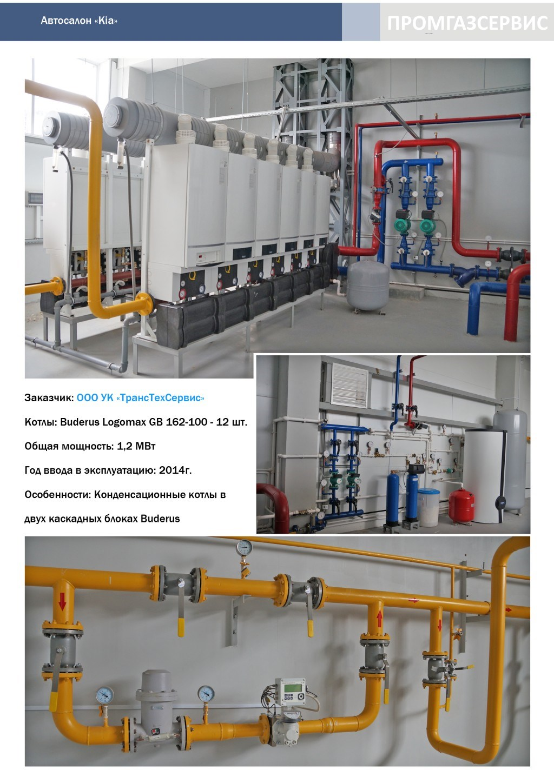 Котлы Buderus Logomax GB 162-100 общей мощностью 1.2 МВт